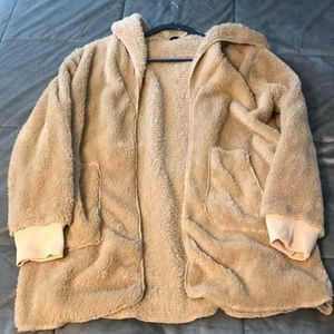 Soft Fluffy CBR Tan Colored Sweater with Hood